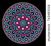 mandala vector dot painting... | Shutterstock .eps vector #763483318
