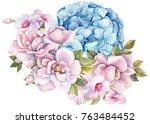 bouquet of flowers rose light... | Shutterstock . vector #763484452