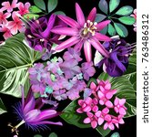 tropical flowers seamless... | Shutterstock .eps vector #763486312