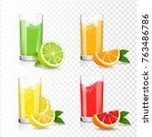 fresh citrus juice in glass.... | Shutterstock .eps vector #763486786