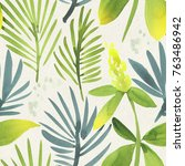 seamless watercolor pattern on... | Shutterstock . vector #763486942