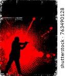 man with gun on grunge... | Shutterstock .eps vector #763490128