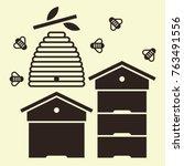 beehives and bees. beekeeping... | Shutterstock .eps vector #763491556
