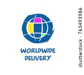 worldwide delivery template... | Shutterstock .eps vector #763493986