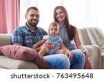 closeup of happy smiling family ... | Shutterstock . vector #763495648