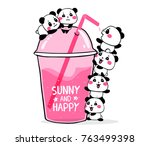 happy cute pandas drink fruit... | Shutterstock .eps vector #763499398
