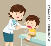 female doctor comforting her...   Shutterstock .eps vector #763499626