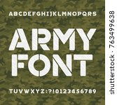 army alphabet font. scratched... | Shutterstock .eps vector #763499638