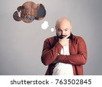 overweight man dreaming about... | Shutterstock . vector #763502845