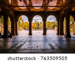 tunnel to bethesda terrace and... | Shutterstock . vector #763509505