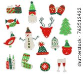 fashion patch badges for winter ...   Shutterstock .eps vector #763513432