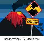 flat design of volcano eruption ... | Shutterstock .eps vector #763515742