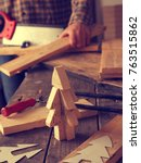 wood working  making a wooden... | Shutterstock . vector #763515862