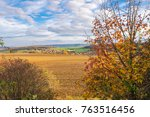 Small photo of Fields near Morina and the abandoned limestone quarry at Velka Amerika(Big America), Czech Grand Canyon, Central Bohemian Region, Beroun District, Czech Republic