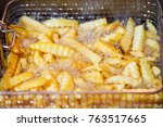 close up french fries potatoes... | Shutterstock . vector #763517665