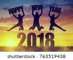 silhouette of a girls jumps up... | Shutterstock . vector #763519438