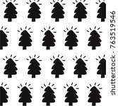 christmas tree vector pattern | Shutterstock .eps vector #763519546