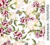 watercolor pattern with flowers ... | Shutterstock . vector #763519552