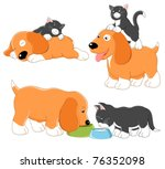 Stock vector kitty and puppy vector collection 76352098