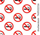 no smoking sign pattern... | Shutterstock . vector #763522216
