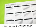 a printed wall calendar | Shutterstock . vector #763523365