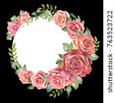 colorful roses frame.watercolor   Shutterstock . vector #763523722