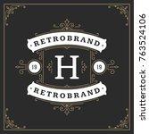 ornament monogram logo design... | Shutterstock .eps vector #763524106