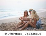 young friends on the beach... | Shutterstock . vector #763535806