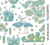 Seamless Pattern With Storks ...