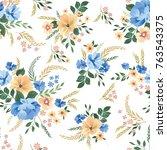 floral seamless pattern. flower ... | Shutterstock .eps vector #763543375