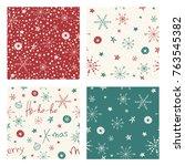 set of seamless christmas... | Shutterstock .eps vector #763545382