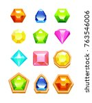 gem match 3 game icon set