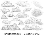 cloud illustration  drawing ... | Shutterstock .eps vector #763548142