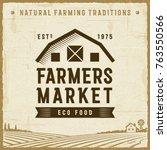 vintage farmers market label | Shutterstock . vector #763550566