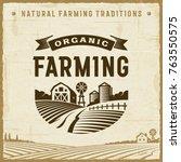 vintage organic farming label | Shutterstock . vector #763550575