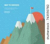 flag on the mountain peak.... | Shutterstock .eps vector #763550782