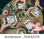 group of food bloggers taking... | Shutterstock . vector #763552732