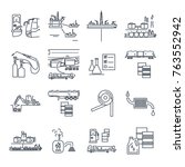set of thin line icons fuel ... | Shutterstock .eps vector #763552942