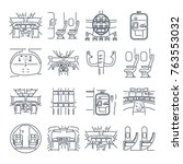 set of thin line icons cockpit... | Shutterstock .eps vector #763553032