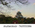 osaka castle with dead tree in... | Shutterstock . vector #763553386