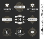 luxury logos templates set ... | Shutterstock .eps vector #763560172