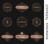 luxury logos templates set ... | Shutterstock .eps vector #763561615
