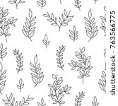 seamless pattern of hand drawn... | Shutterstock .eps vector #763566775