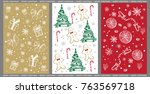 set of christmas and new year... | Shutterstock .eps vector #763569718