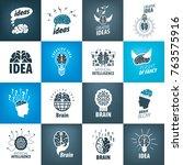 vector brain logo | Shutterstock .eps vector #763575916