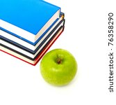 Small photo of books and an apple ack to school concept