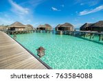 ocean water villa with the... | Shutterstock . vector #763584088