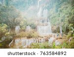 tee lor su waterfall.famous... | Shutterstock . vector #763584892