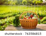 organic vegetables in wicker... | Shutterstock . vector #763586815