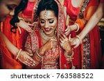 stunning indian bride dressed... | Shutterstock . vector #763588522